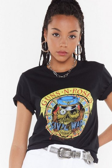 Womens Black Guns N' Roses Tour Tee