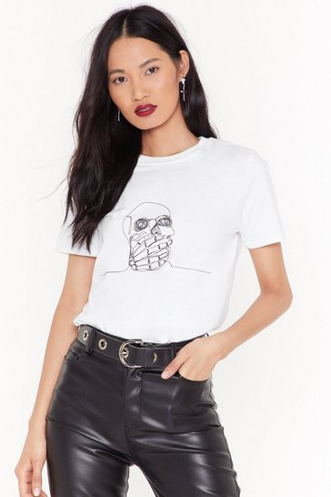 Womens White Heads Will Roll Skull Tee