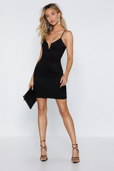 Black If It Was Down to V Faux Suede Dress
