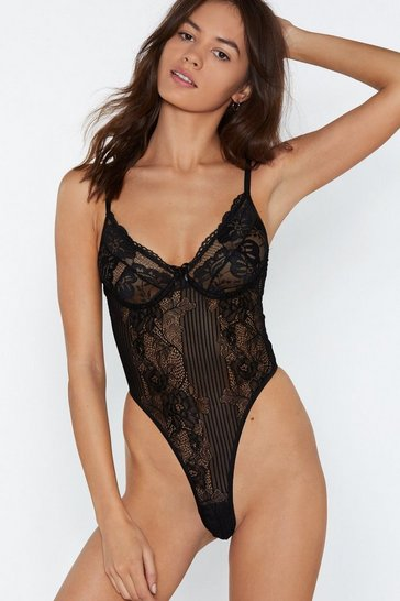 Black Lace Orders Cupped Bodysuit