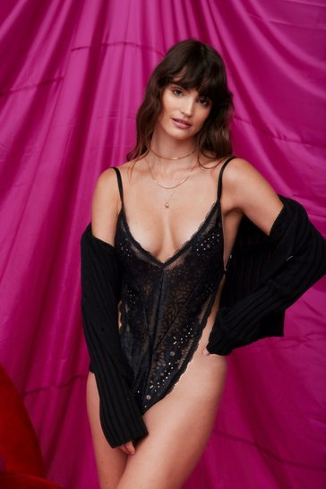 Black I Just Want to Make Love to You Lace Bodysuit