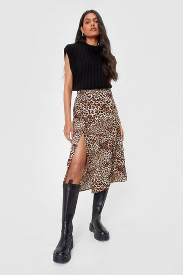 Brown Leopard Print Slit Midi Skirt