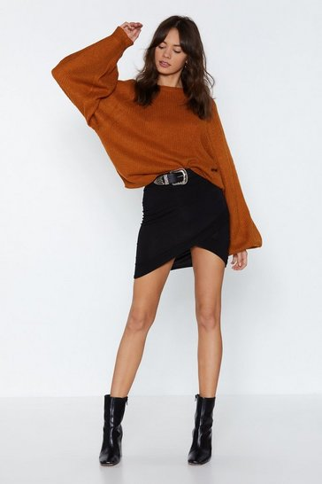 Black Let's Wrap This Up Mini Skirt