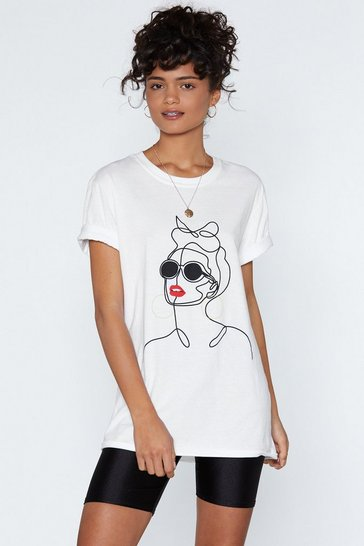 Womens White Shades of Cool Graphic Tee