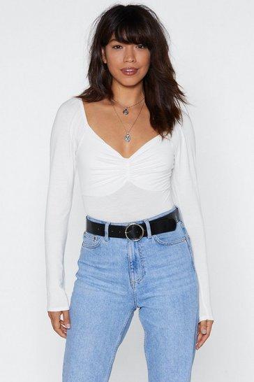 Cream Ruched V-Neckline Bodysuit