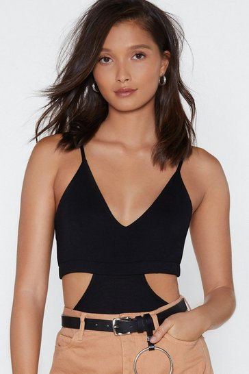 Womens Black Every Piece of Me Cut-Out Bodysuit