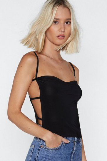 Black Whose Side Are You On Cut-Out Cami Top