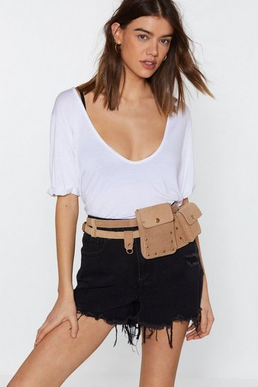 Womens Tan WANT Caught in the Metal Suede Belt Bag