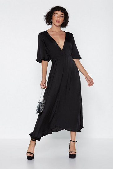 Womens Black Give It a Whirl Plunging Dress