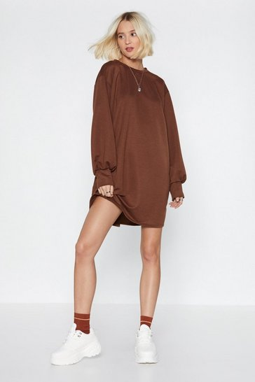 Womens Chocolate No Sweat Sweatshirt Dress