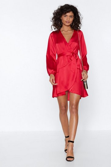 Womens Red Let It Slink in Wrap Dress
