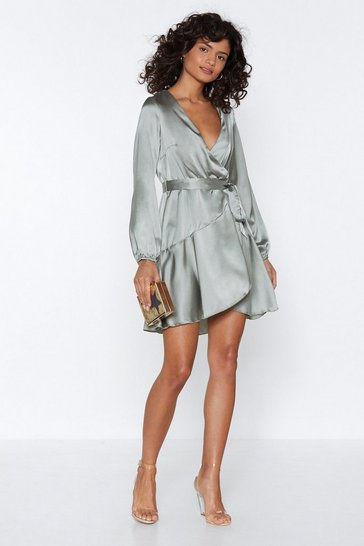Womens Sage Let It Slink in Wrap Dress