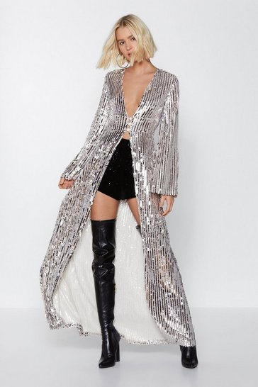 Nasty Gal Studio - Top à sequins Longue File Au Bar, Nude