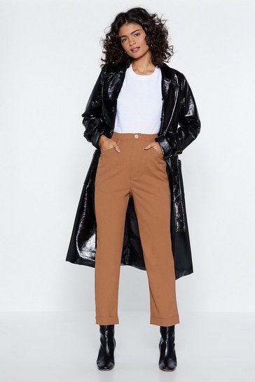 Womens Camel Got It All on Tapered High-Waisted Trousers