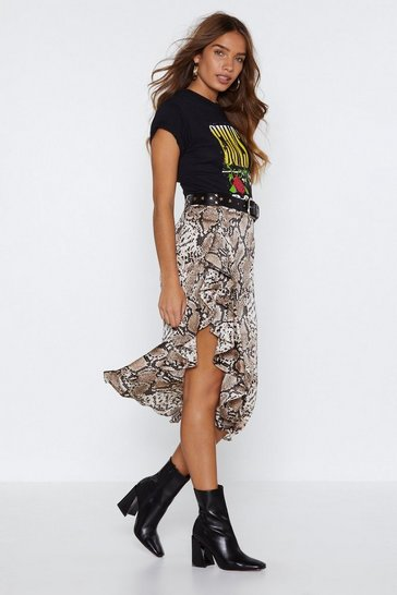 Brown Snake Your Time Ruffle Skirt