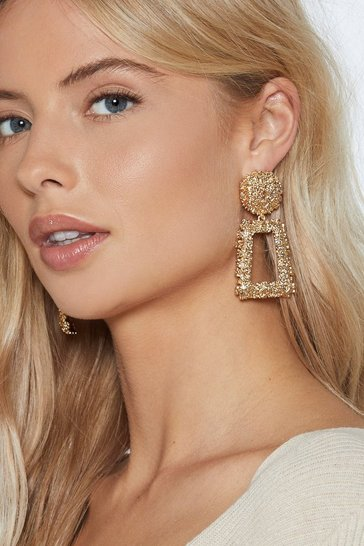 Gold Textured Door Knocker Drop Earrings