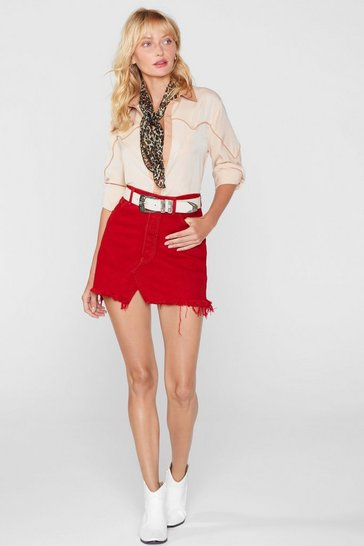 Womens Red After Party Vintage One More Mini Denim Skirt