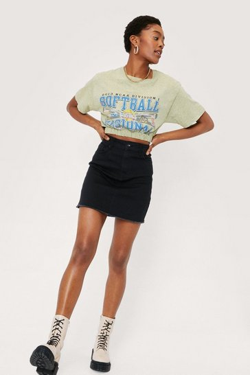 Black Raw Hem Denim Mini Skirt