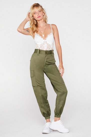 Khaki Vintage High Waisted Utility Cuffed Pants