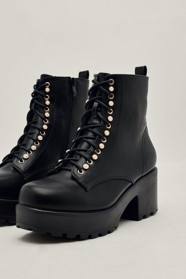 Black Lace Up Heeled Chunky Boots