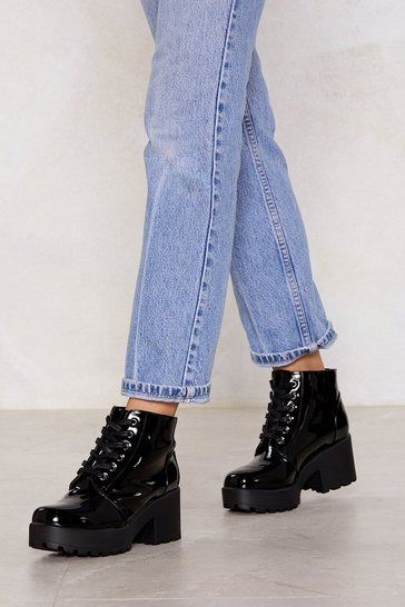 Black Patent On You Lace-Up Boot