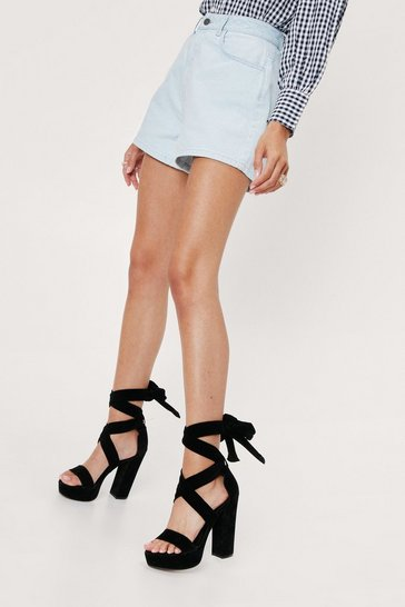 Black On the Up Platform Heel