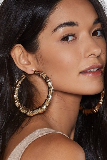 Womens Gold In the Loop Hoop Earrings