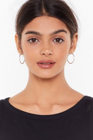 Silver Thin Dainty Medium Hoop Earrings