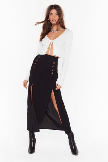 Black Can't We Just Slit Down Midi Skirt