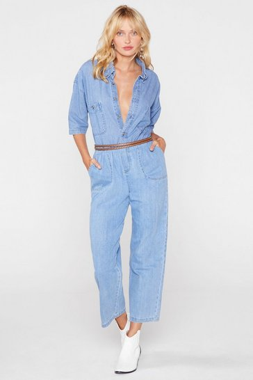Blue Vintage Relaxed Cropped Denim Boilersuit