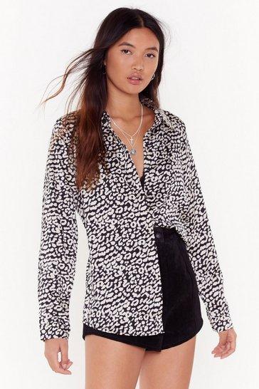 Black Wild World Leopard Shirt