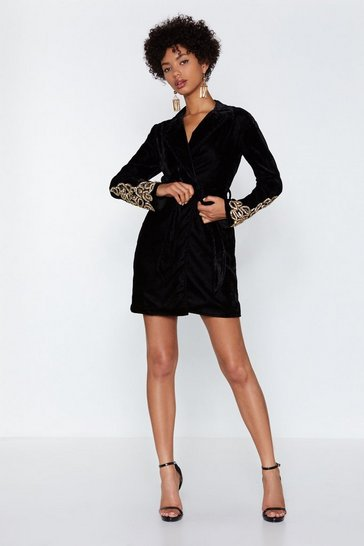 Womens Black Magic Touch Velvet Blazer Dress