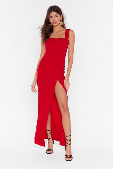 Red Maxi Dress with Square Neck