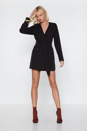 Womens Black Wrapped Up in You Blazer Dress
