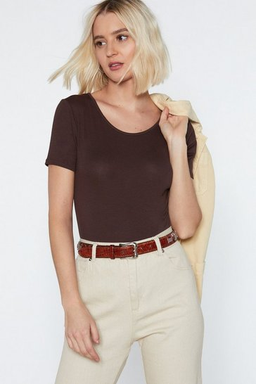 Womens Chocolate Cover Your Basics Tee Bodysuit