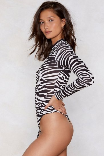 Womens White Guess My Spirit Animal Zebra Bodysuit