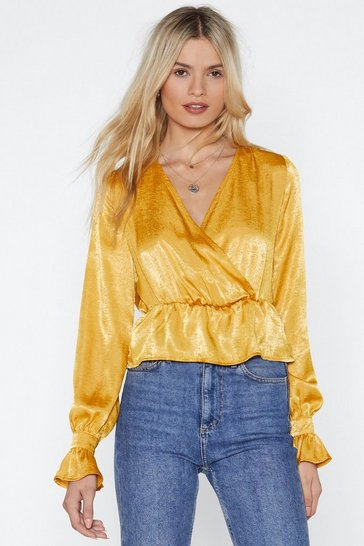 Womens Mustard Totally Hammered Satin Top