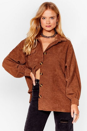 Chocolate Big Cord and Beautiful Oversized Shirt
