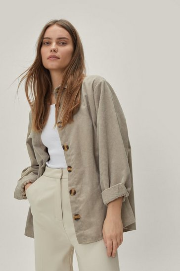 Stone Button Down Oversized Corduroy Shirt
