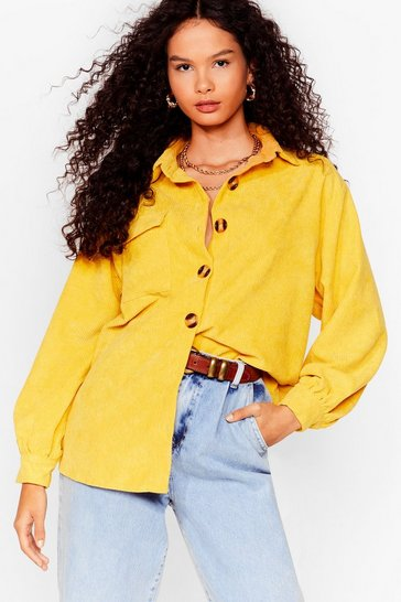 Yellow Big Cord and Beautiful Oversized Shirt