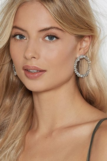 Womens Silver Diamonds Are Forever Circle Earrings