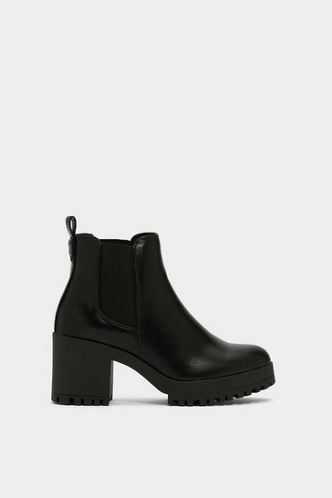 Black Chelsea Faux Leather and Block Heel Boots