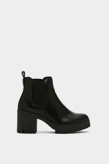 Black Chelsea Dagger Heeled Boot