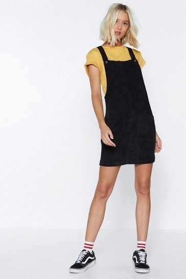 Womens Black Hitting All the Right Notes Cord Pinafore Dress