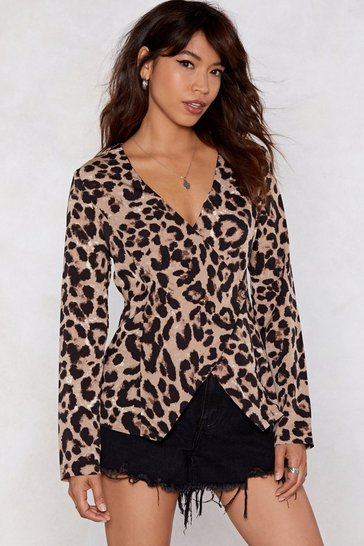 Womens Brown All Together Meow Leopard Blouse