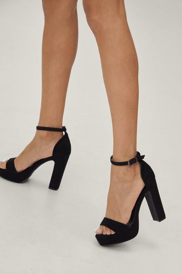 Black Step Things Up Suede Heel