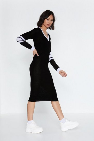 Womens White V-neck Midi Sweater Dress