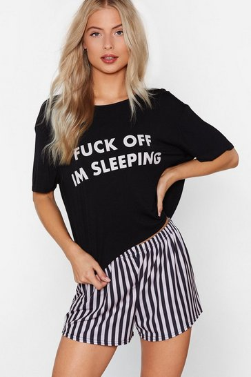 Black Fuck Off I'm Sleeping Tee and Shorts Pyjama Set