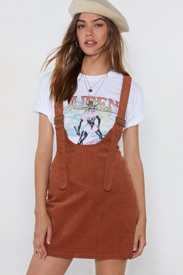 Womens Chocolate Pin Me Down Cord Pinafore Dress