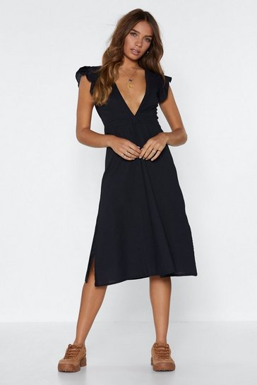 Womens Black Deep in My Heart Plunge Dress